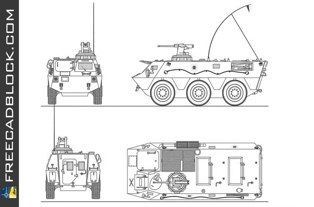 Drawing War tank pegaso dwg in Autocad