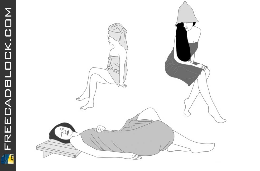 Drawing Women in sauna dwg