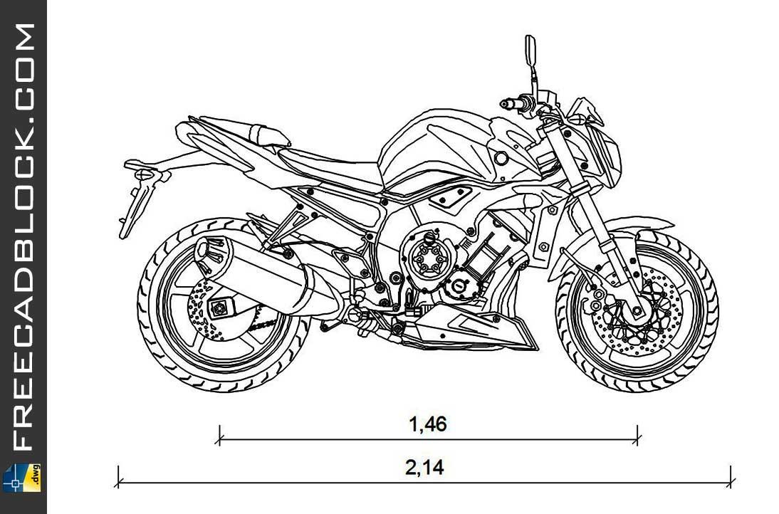 Drawing Yamaha 1000-FZ1 dwg in Autocad