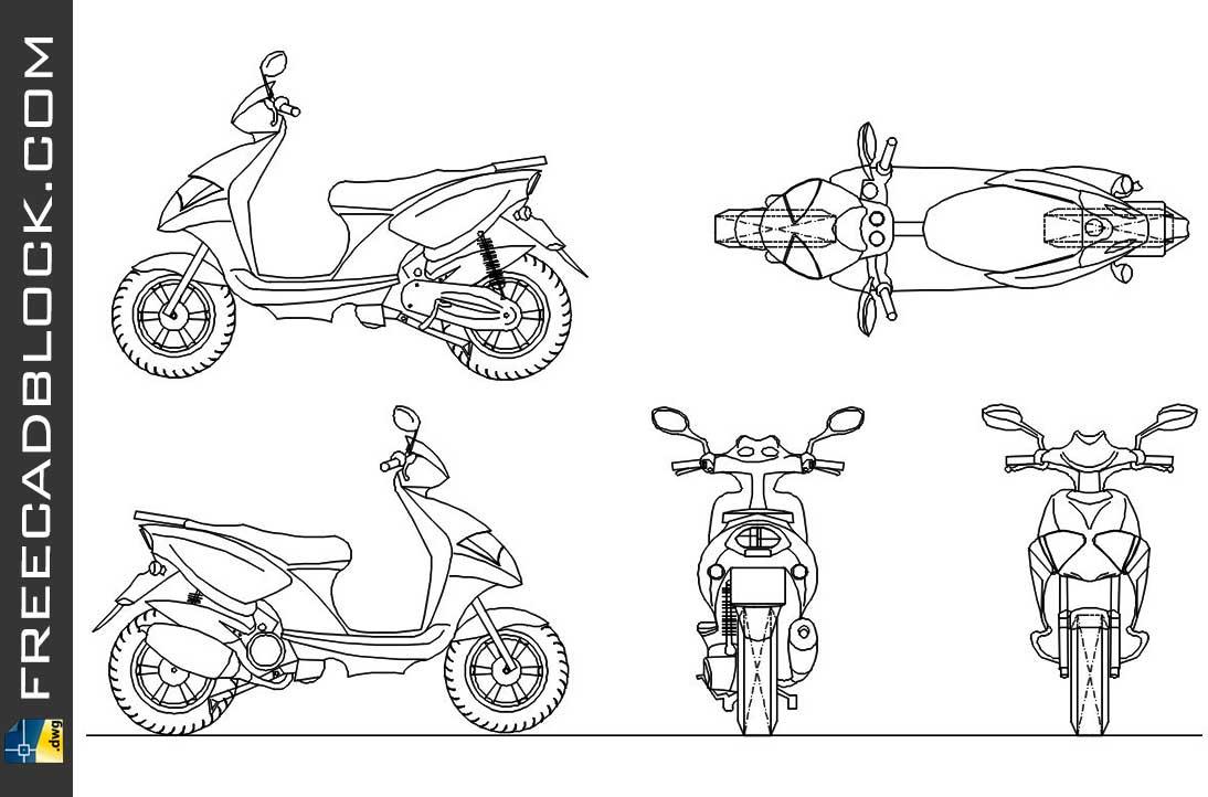Drawing Yamaha 50ccm Roller dwg