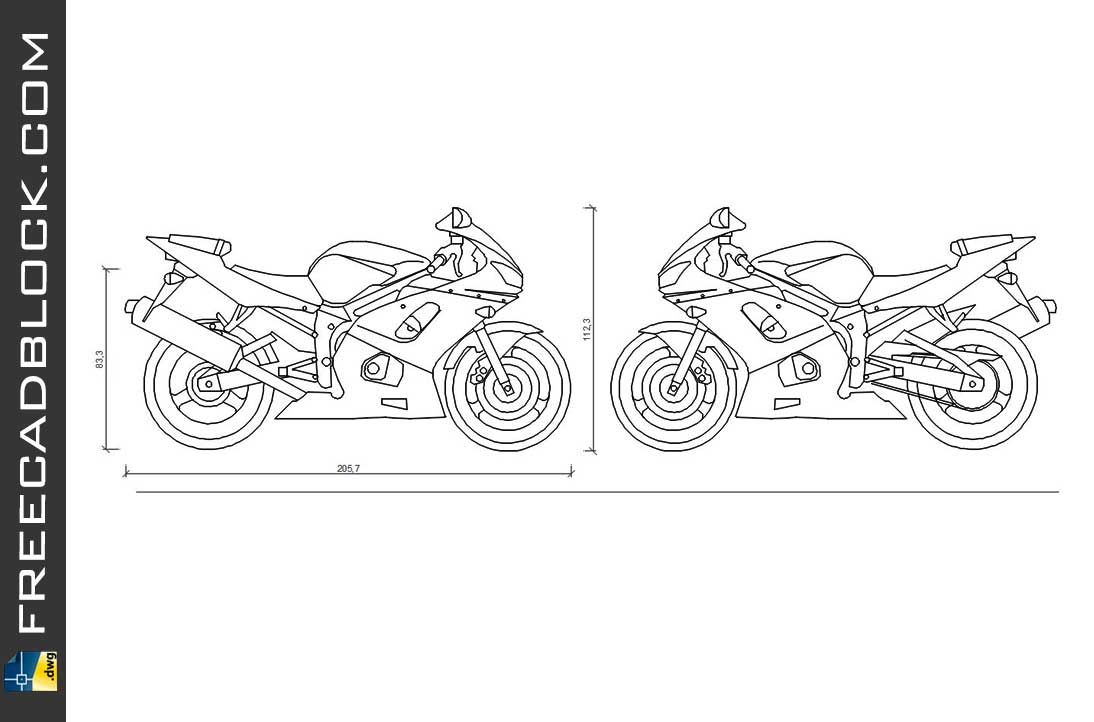 Drawing Yamaha R6 (2001) dwg for Autocad