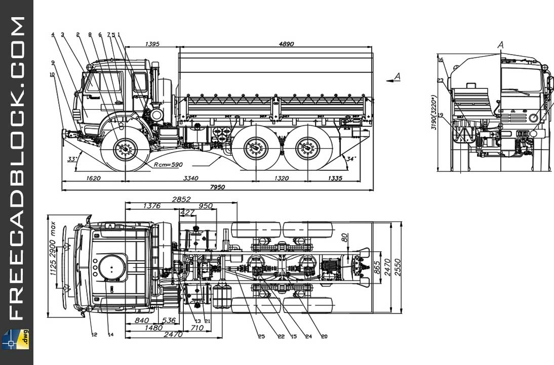 Drawing Kamaz 5350 dwg in Autocad