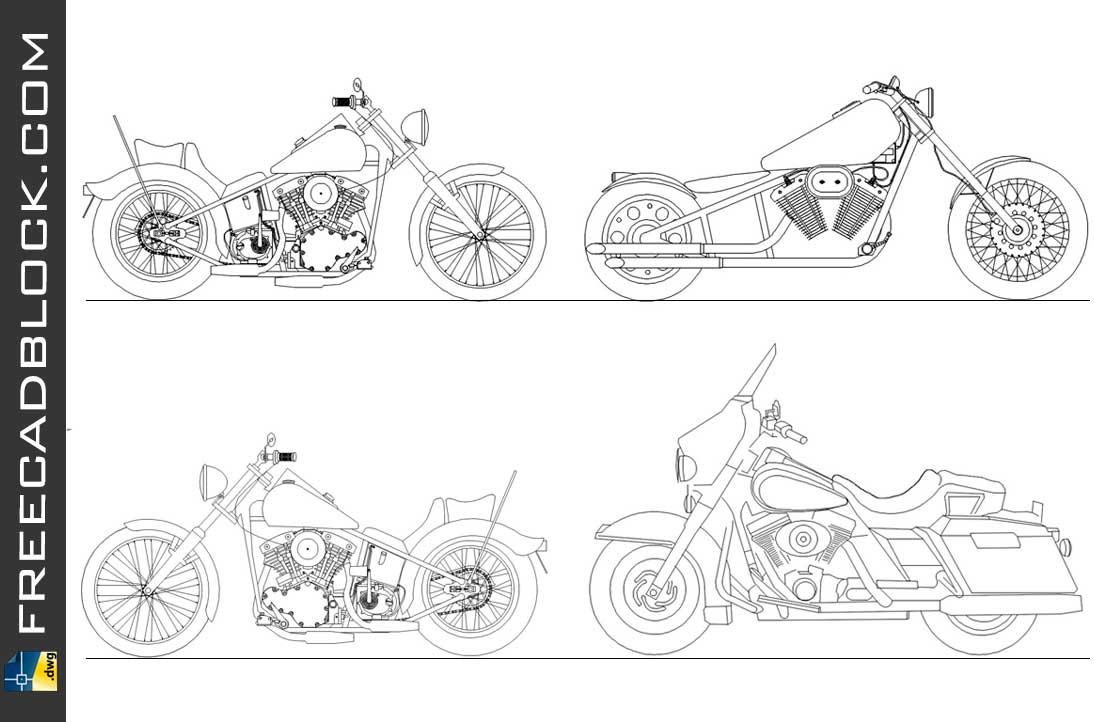 Drawing Moto HARLEY DAVIDSON dwg