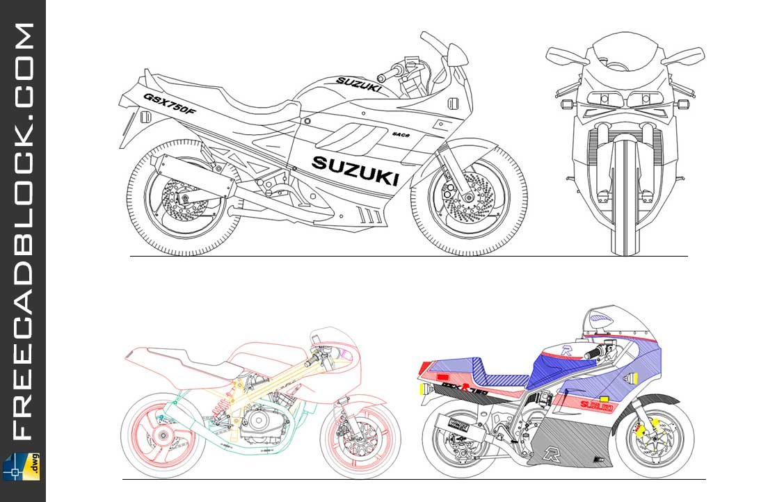 Drawing Moto Suzuki dwg for Autocad