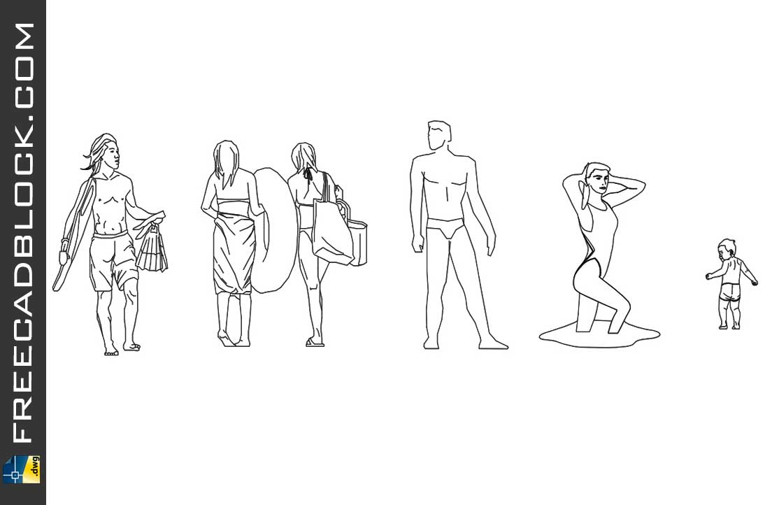 Drawing People on the beach dwg